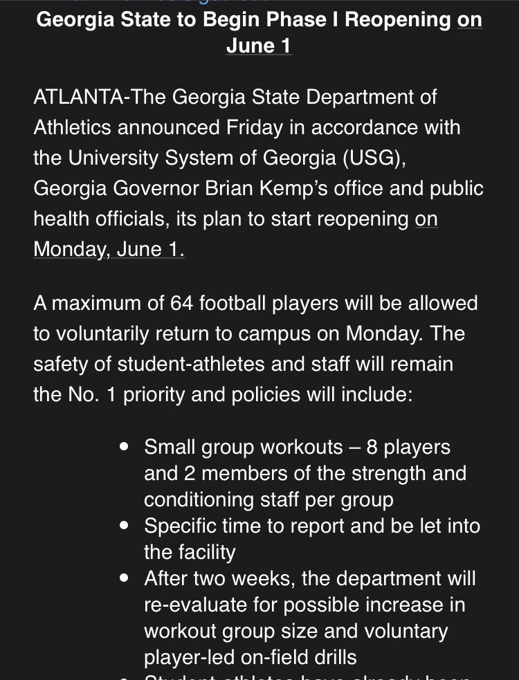 NEW: @GeorgiaStateU will start Phase I Reopening on June 1st for student-athletes.
