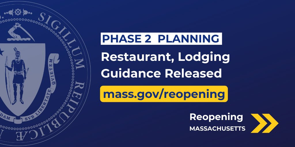 As part of our planning for a safe transition to Phase 2, we are releasing restaurant + lodging guidance today.  On Monday I will issue an executive order with further detail that will also enable professional sports teams to begin practice.  #COVID19MA  ⏩https://t.co/L5FAI0K3Js https://t.co/1lQSSWUl8y