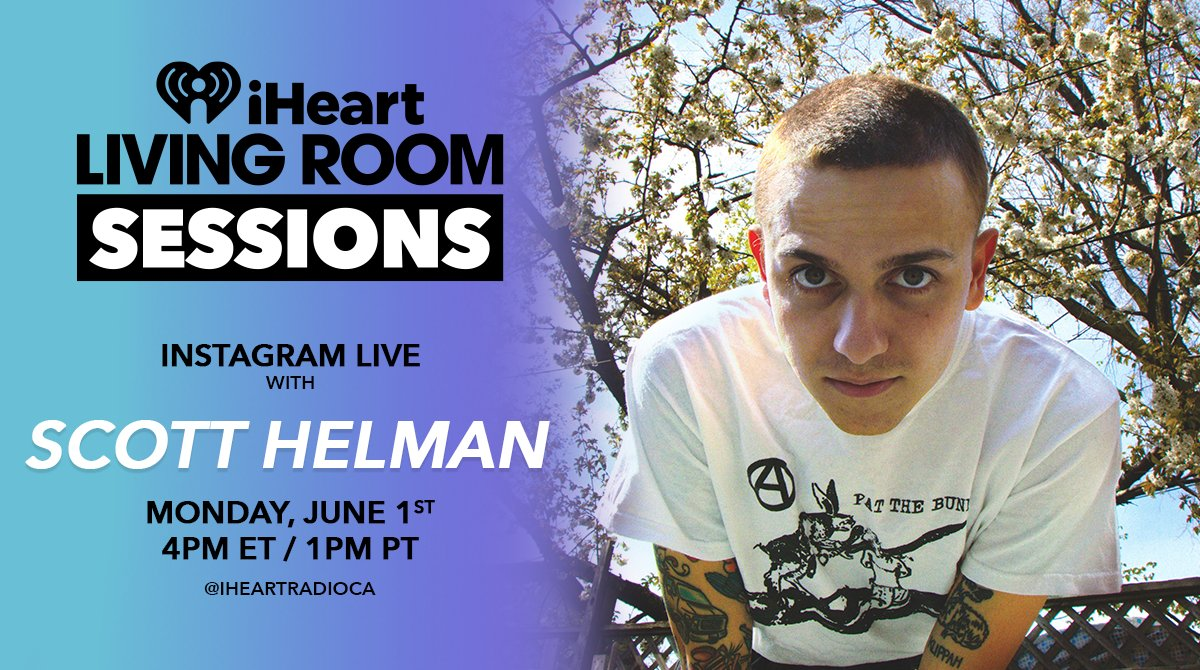 Just Announced! An #iHeartLivingRoomSession with @ScottHelman! Watch ONLY on our Instagram Live June 1 at 4PM/e 1PM/p instagram.com/iheartradioca In Partnership with Jackson-Triggs Wines