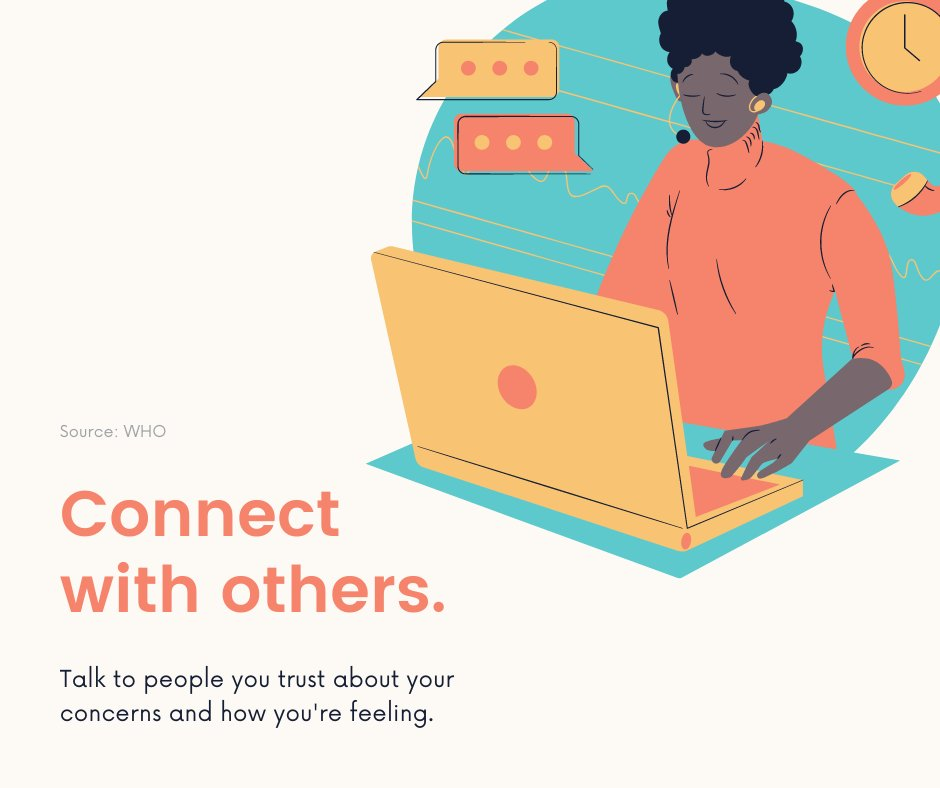 #SocialDistancing doesn't mean unconnected, Remember to continue to connect with others virtually.  Talk to people you trust about your concerns and how you're feeling: https://t.co/FxXFZ0eXvS https://t.co/ZD9FJ4LqKp