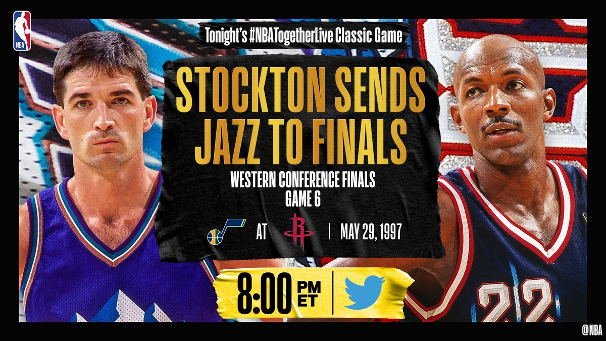 Tonight's #NBATogetherLive Classic Game will feature John Stockton's game-winner from @utahjazz / @HoustonRockets Game 6 of the Western Conference Finals (5/29/1997)!  We're streaming it live & watching together here on @NBA at 8:00pm/et. https://t.co/h21SCl5Ymc