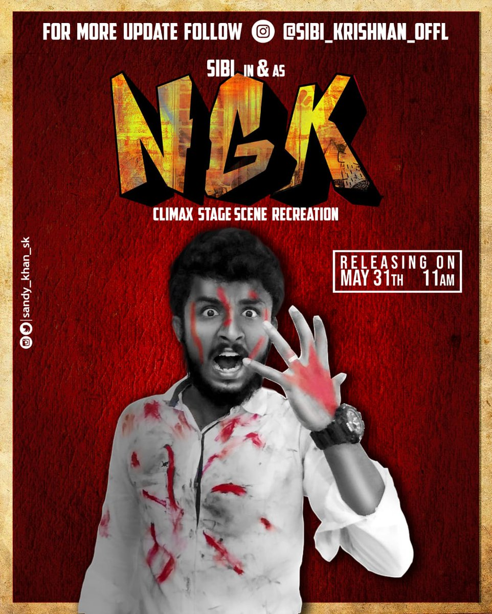 #NGK climax speech imitation by our frnd @sibikris_offl will be releasing on the 1st Anniversary of #NGK at 11 AM (May 31st) !! Let's support him 🙌 #1YearOfCultNGK #SooraraiPottru | @Suriya_offl | @prabhu_sr | @DreamWarriorpic https://t.co/eVihhPOnH2