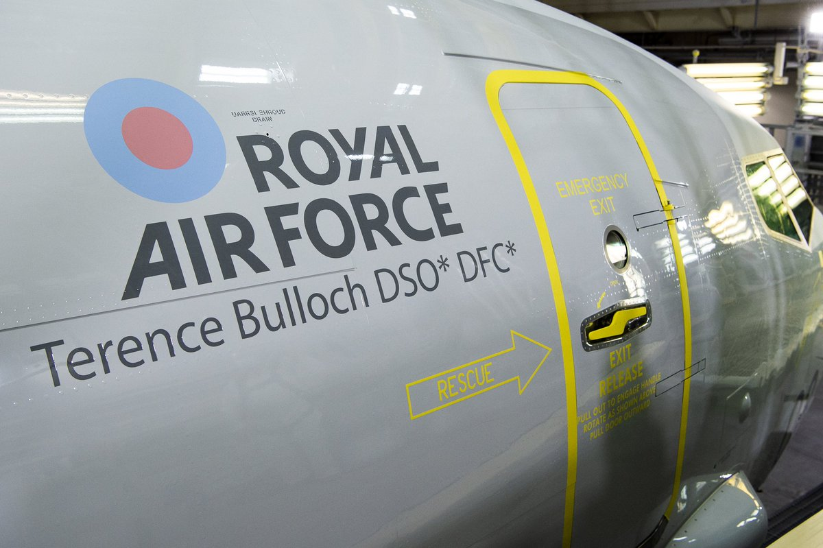 We are proud to reveal ZP803's new name as she comes out of @Boeing paint shop; 'Terence Bulloch DSO* DFC*'. Sqn Ldr Bulloch was a @CXX_Squadron pilot during WW2 with an impressive record as the highest scoring pilot in Coastal Command, someone for our crews to aspire to. https://t.co/breKId1kak
