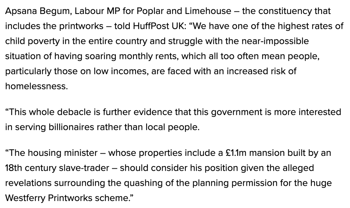 .@ApsanaBegumMP, whose east London constituency includes the former printworks earmarked for development, says Jenrick should consider his position huffingtonpost.co.uk/entry/robert-j…