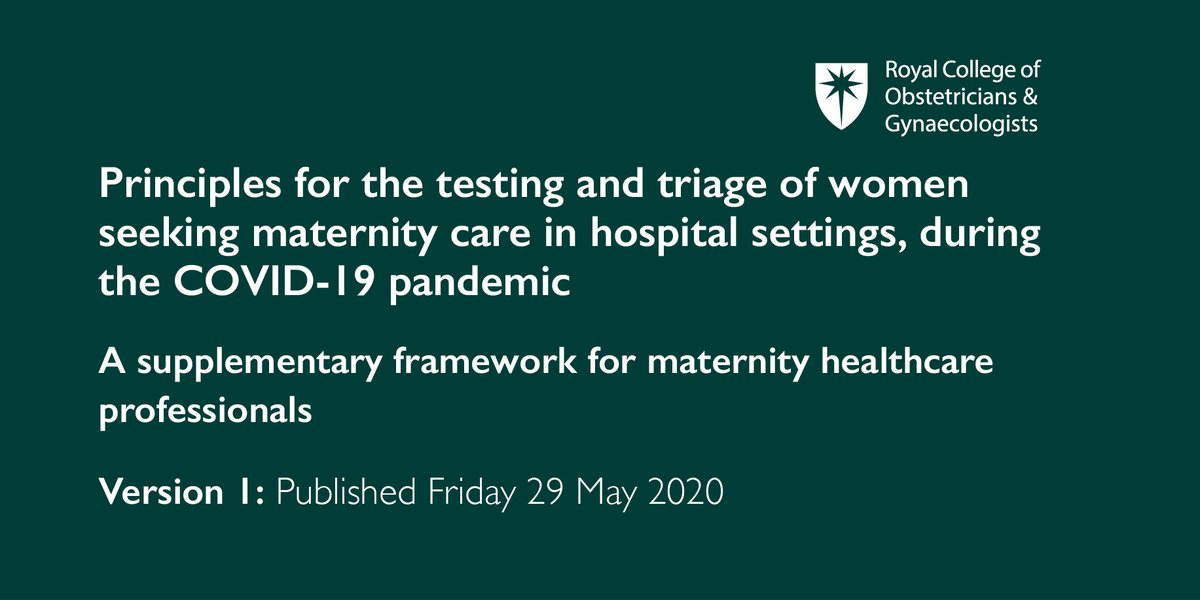 Principles for testing and triaging women receiving maternity care in hospital settings have been published today: https://t.co/1TXn9edbG6 #covidmaternity #coronavirus https://t.co/OzvoJF8aGO