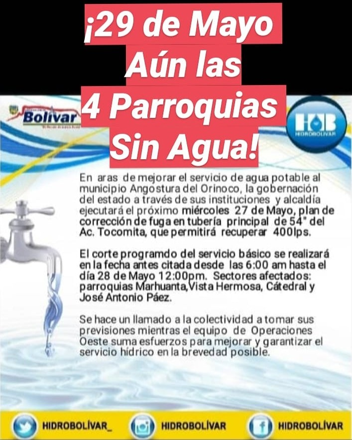 #29Mayo ¡Más de 48 horas sin Agua, casi toda #CiudadBolivar#BolivarSinAgua/ @hidrobolivar que gran ¡IRRESPONSABILIDAD!pic.twitter.com/v8tTZpNMIl
