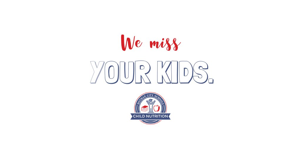 As the school year is wrapping up we want to remind (y)our kids that we miss them! Have a safe summer and we can't wait to see you soon ❤️💙  @DCSdothan #wemissourkids #schoolnutrition #seeyousoon #covidclosures #dothan #childnutrition #lunchladies #missyou https://t.co/NYkHO8HO8C