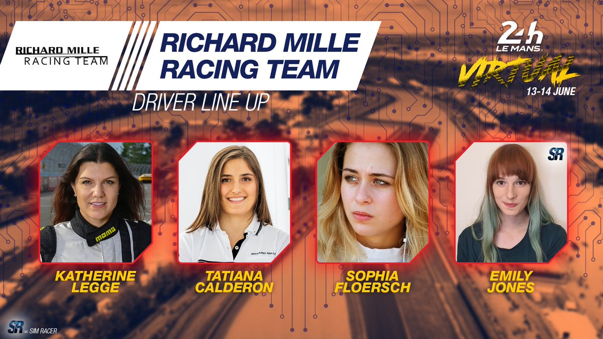 Introducing the @Richard_Mille Racing Team for #LeMans24Virtual - the only all-female lineup on the grid  👉 @katherinelegge   👉 Tatiana Calderon @tatacalde 👉 @SophiaFloersch   👉 Emily Jones  #LeMans24Virtual #WEC #RaceAtHome https://t.co/0UJSPCg0vs
