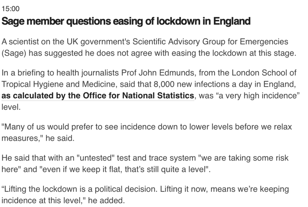 SAGE member Prof John Edmunds tells health journalists that 8000 new infections a day was very high and he, and many others, would prefer lower levels of infection incidence before relaxing lockdown measures. Lifting lockdown [at this stage] is a political decision.
