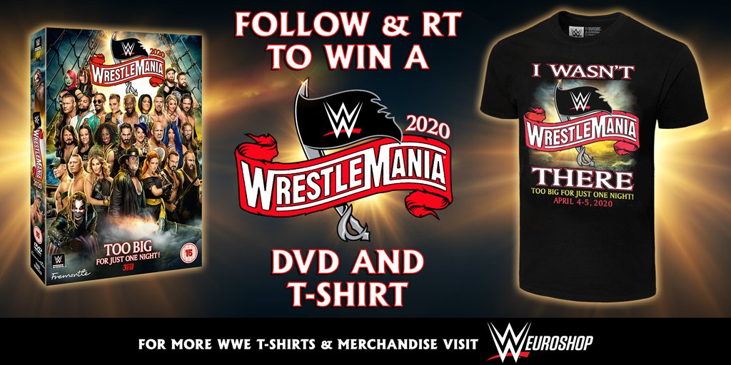 FOLLOW & RT for a chance to #WIN! We've got 2 #WWE #WrestleMania DVD + T-shirt bundles to #giveaway! #Competition ends 8th Junepic.twitter.com/zcBOmX4Idi