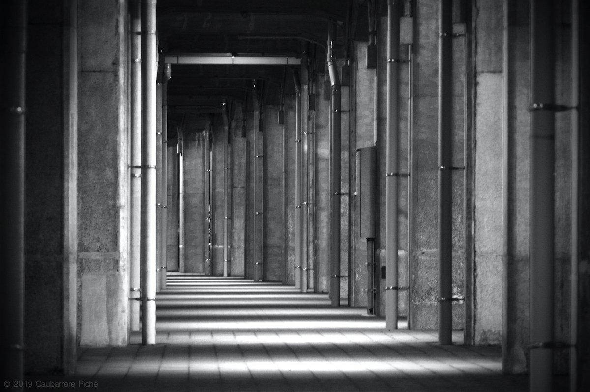 Beneath an elevated walkway. Pentax KP 135mm ƒ/5.6 for 1/8 sec. at ISO 3200. #concrete #columns #monochrome #YamashitaRinkoLinePromenade #Yokohama #Japan #コンクリート #柱 #高架鉄道 #結ぶ遊歩道 #モノクロ #山下臨港線プロムナード #横浜 Licensing & prints: http://pix4japan.picfair.com pic.twitter.com/JpOpL7zyg9