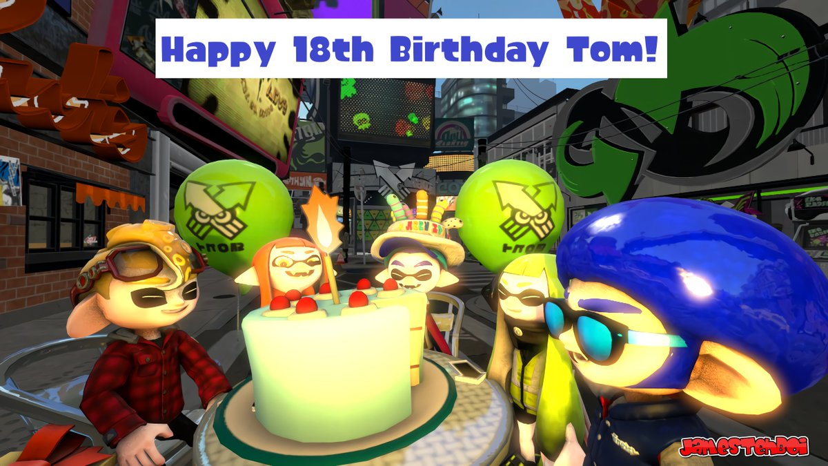 Happy Birthday to @TomLegend101! 🎁🎉  Here's a birthday picture for you, hope you like it bud!  featuring: Orange Inkling Girl (Woomy), Agent 3 & @SuperBlueCamX!