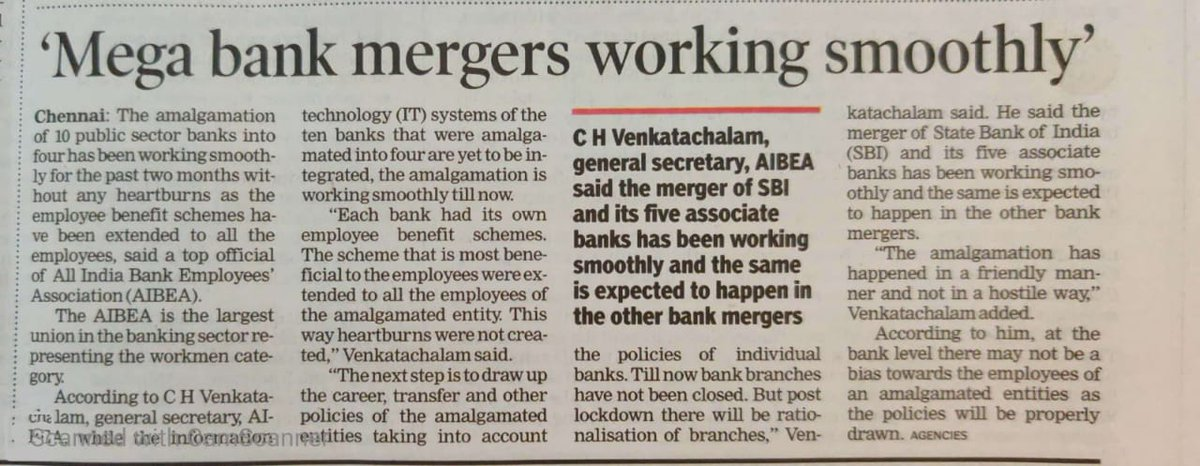 See the double standards of these #Communist leaders.Till now they were opposing mergers and now he is happy with mergers.Retired CPI leadrs,don't know the problems faced by the employees nd hence everytime they are changing stance.Agony of #BanksTradeUnion @MazdoorSangh @gscbms<br>http://pic.twitter.com/SwI8bvyFY6