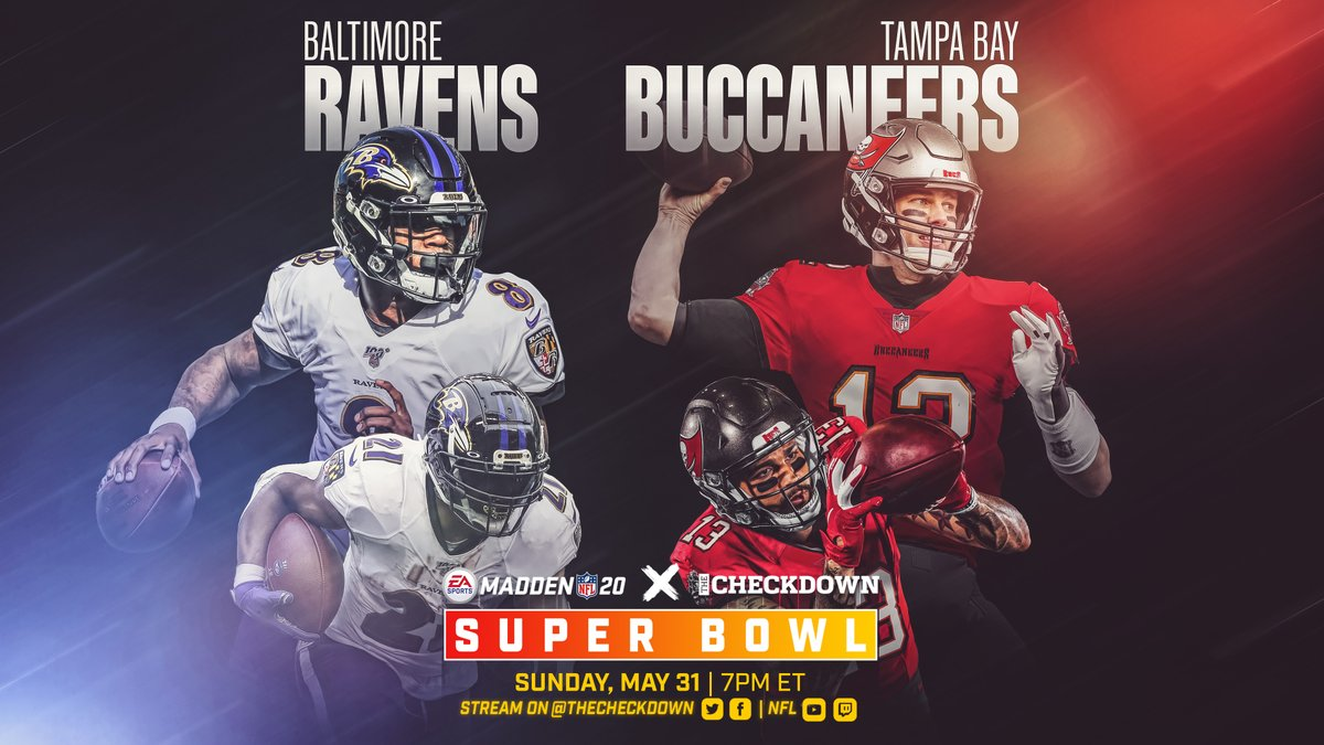 The Madden x Checkdown Super Bowl Sim is set 🔥 Who you got winning it all? @Ravens @Buccaneers @EAMaddenNFL https://t.co/xnZkm2auBr