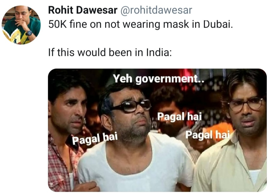 Me: Who will forget putting onn their mask in Dubai now?   Me (again): SRK. Coz he is Raees. Sorry #Meme #Memes #DankMemes #IndianMemes #IndianAuthors #RohitDawesar #FunnyTweets #RelatableTweets #MemeoPause #DesiJokes  #Desimemes #FunnyTikTok #Sarcasm #DesiMeme #IndianJokespic.twitter.com/s4uvYkRL1A