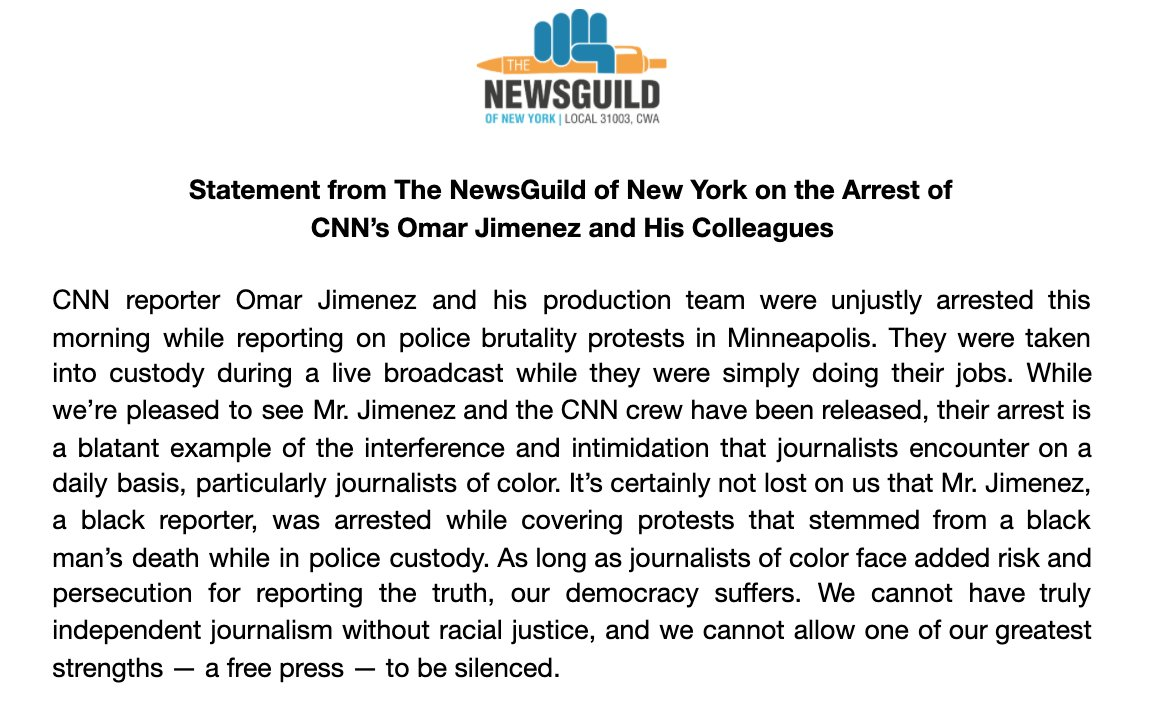 """""""We cannot have truly independent journalism without racial justice, and we cannot allow one of our greatest strengths — a free press — to be silenced."""" Our statement on the unjust arrest of Omar Jimenez and his colleagues. https://t.co/1Xd9aDXtjE"""