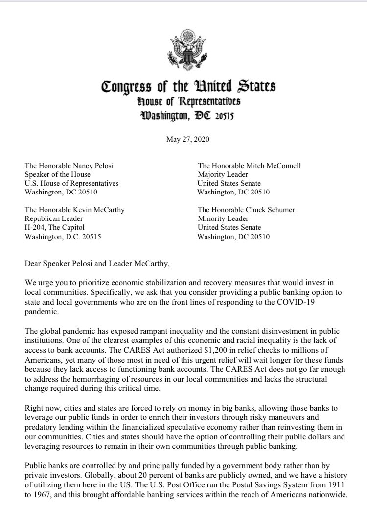 .@RepAOC, @Ilhan, @RepJayapal, @RepChuyGarcia, @RepPressley, and I are urging House leadership to include a public banking option for state and local governments in the next #COVIDー19 relief bill. https://t.co/AGJhl58Jfx