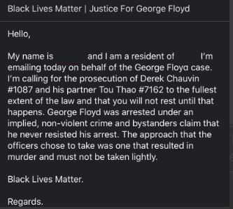 YOUR TURN - if you live outside the USA, email this to police@minneapolismn.gov Text in image below Let them know the world is watching #BlackLivesMatter EVERYWHERE