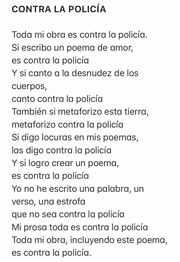 "Replying to @sinaralvarado: Miguel James y su poema ""Contra la policía"". Siempre vigente."