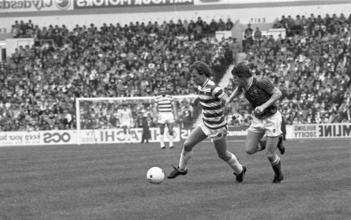 Davie Provan on the attack at Ibrox in 1983. The wee man had a great record against Rangers. Ally Dawson must have nightmares looking back. Davie in full flow was a sight to behold.