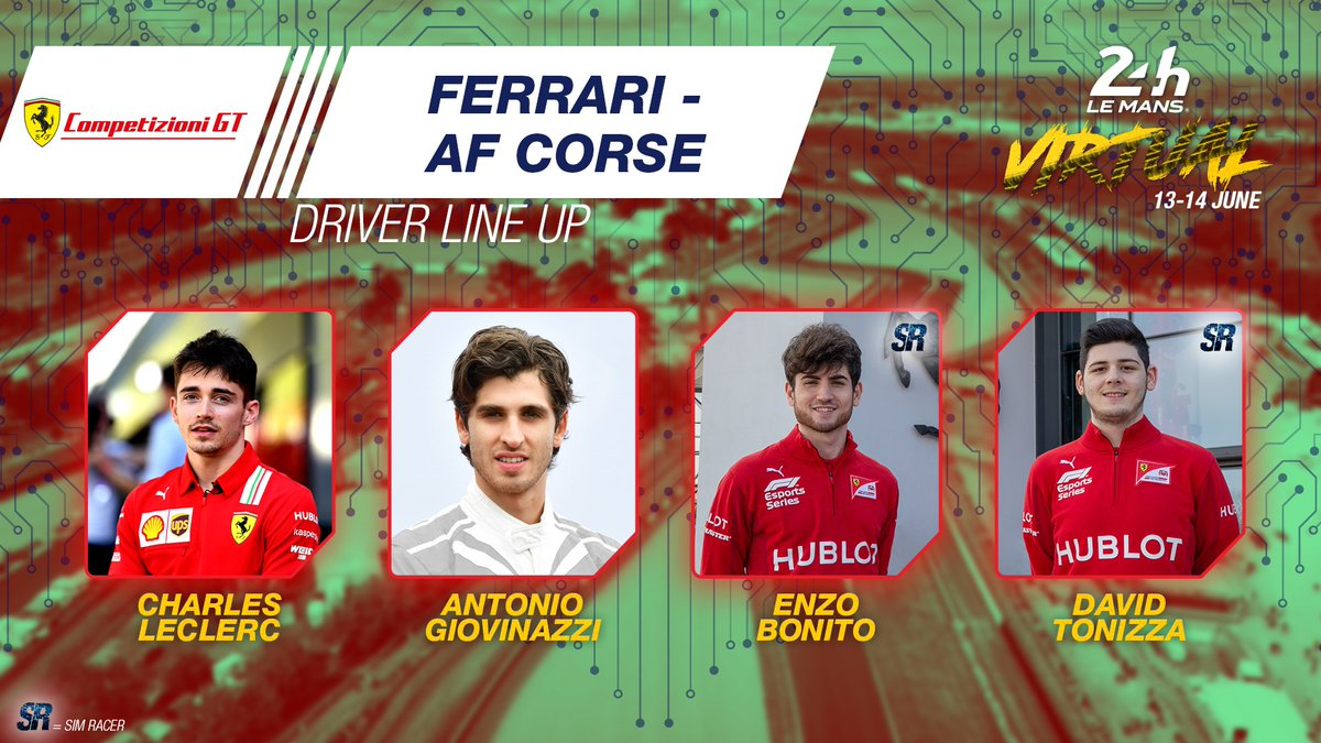 Here we go... the icing on the cake! Welcome @Charles_Leclerc x @Anto_Giovinazzi x @EnzoBonito17 x @David_Tonizza. 🇮🇹  #WEC #LeMans24Virtual @FerrariRaces https://t.co/niv7PWfKy5