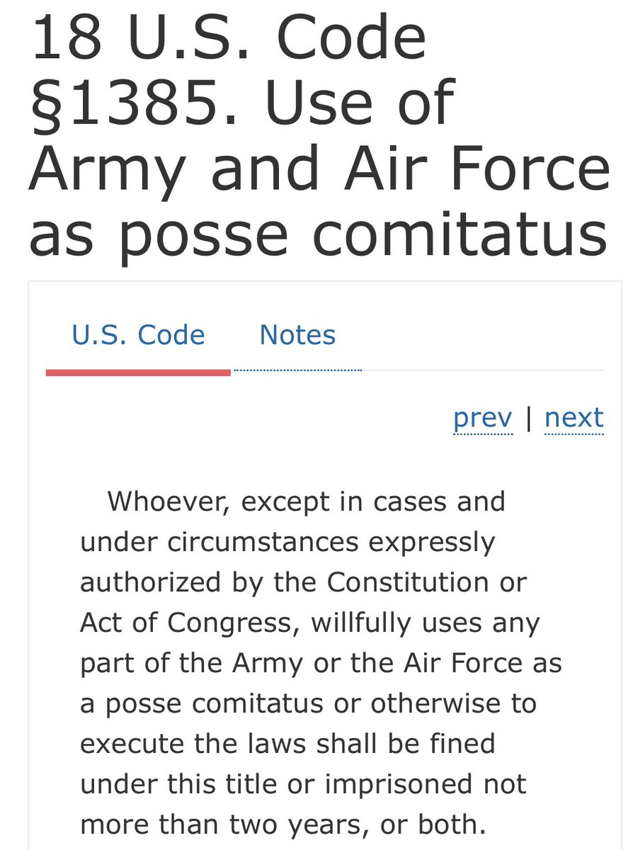 "Steve Vladeck on Twitter: ""The Posse Comitatus Act of 1878 does ..."