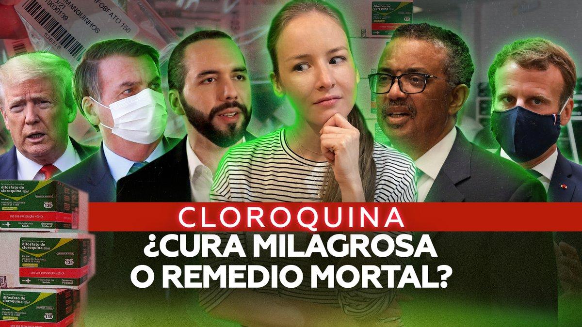 Trump y Bolsonaro dicen que sí, Macron que de ninguna manera, Bukele que tal vez. ¿Qué es la cloroquina? ¿Sirve para atajar los efectos del nuevo coronavirus en el organismo o los potencia? .@inafinogenova