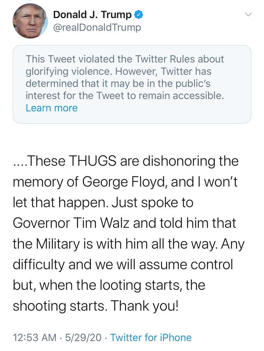 PLEASE EXPLAIN HOW THIS WILL BENEFIT ANYONE!   You do realize the National Guard is on their way to help control a situation and tweets like this fuel that fire.   Stop the BS @Jack! This is absolutely unacceptable & against TOS!   #TakeTrumpOffTwitter NOW!<br>http://pic.twitter.com/4n86rIKNkJ