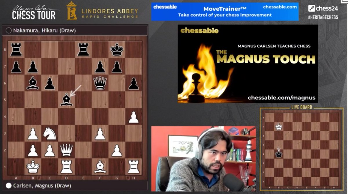 test Twitter Media - Hikaru Nakamura points out that the positions in both Games 1 and 2 were incredibly hard to play for both players with little time  #HeritageChess #c24live https://t.co/DdSzmOwHSa