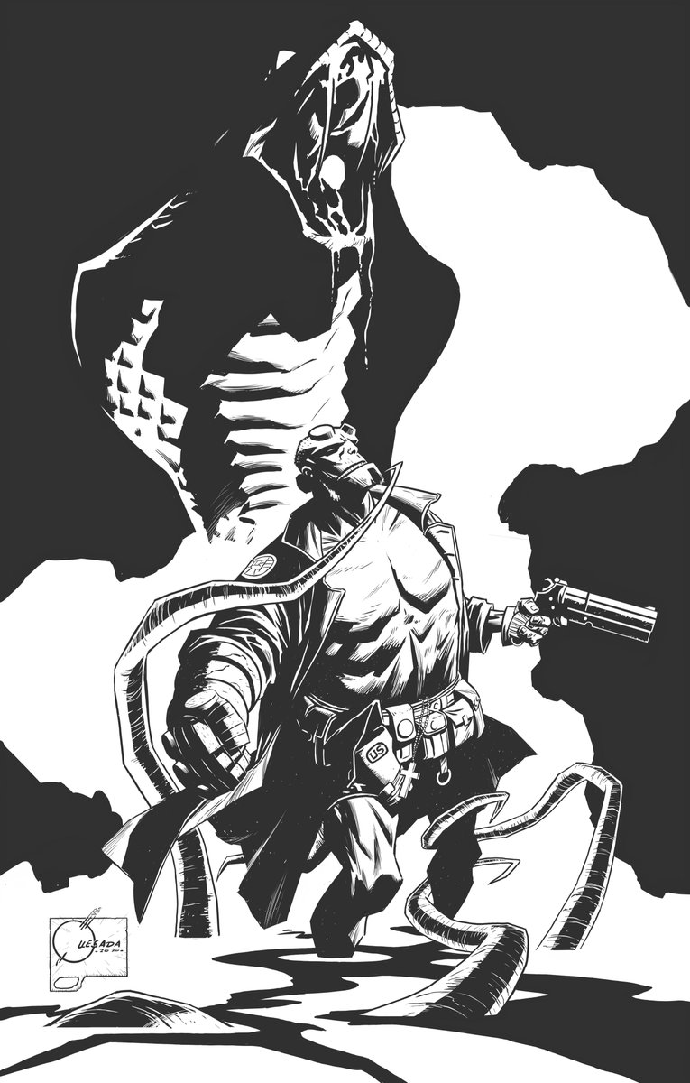 FINALLY, finished digitally inking the Hellboy piece I started several episode's ago on last night's @Drink_and_Draw