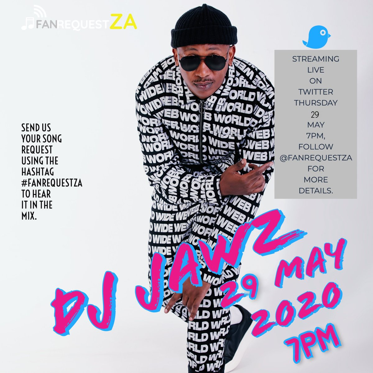 Tonight log into @FanRequestZA & catch @DJJawz LIVE stream at 7pm.  Send you requests to be featured on his set using the hashtag #FANREQUESTZA https://t.co/VeIwYli4Jf