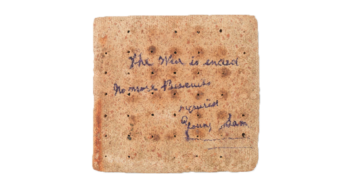 The war is ended/ No more biscuits Imagine not wanting a biscuit? Hard biscuits, a staple of Army rations historically, were as hard to like as to bite. This example was posted home by Trumpeter S Foster at the end of the Boer War. #NationalBiscuitDay bit.ly/2Ahru02