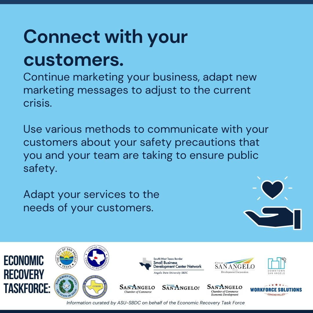 As Texas begins to reopen in stages be sure to connect with your customers. It is essential to communicate the safety precautions you are taking as a business to ensure customer safety! Learn more about Opening Texas at   http://www. angelo.edu/bizrecovery     #SmallBusiness #COVIDRecovery<br>http://pic.twitter.com/3TX2JPQ7iG