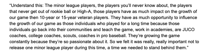 In a conference call with local media members today, Royals GM Dayton Moore said this about the clubs decision to stand by their minor league players:
