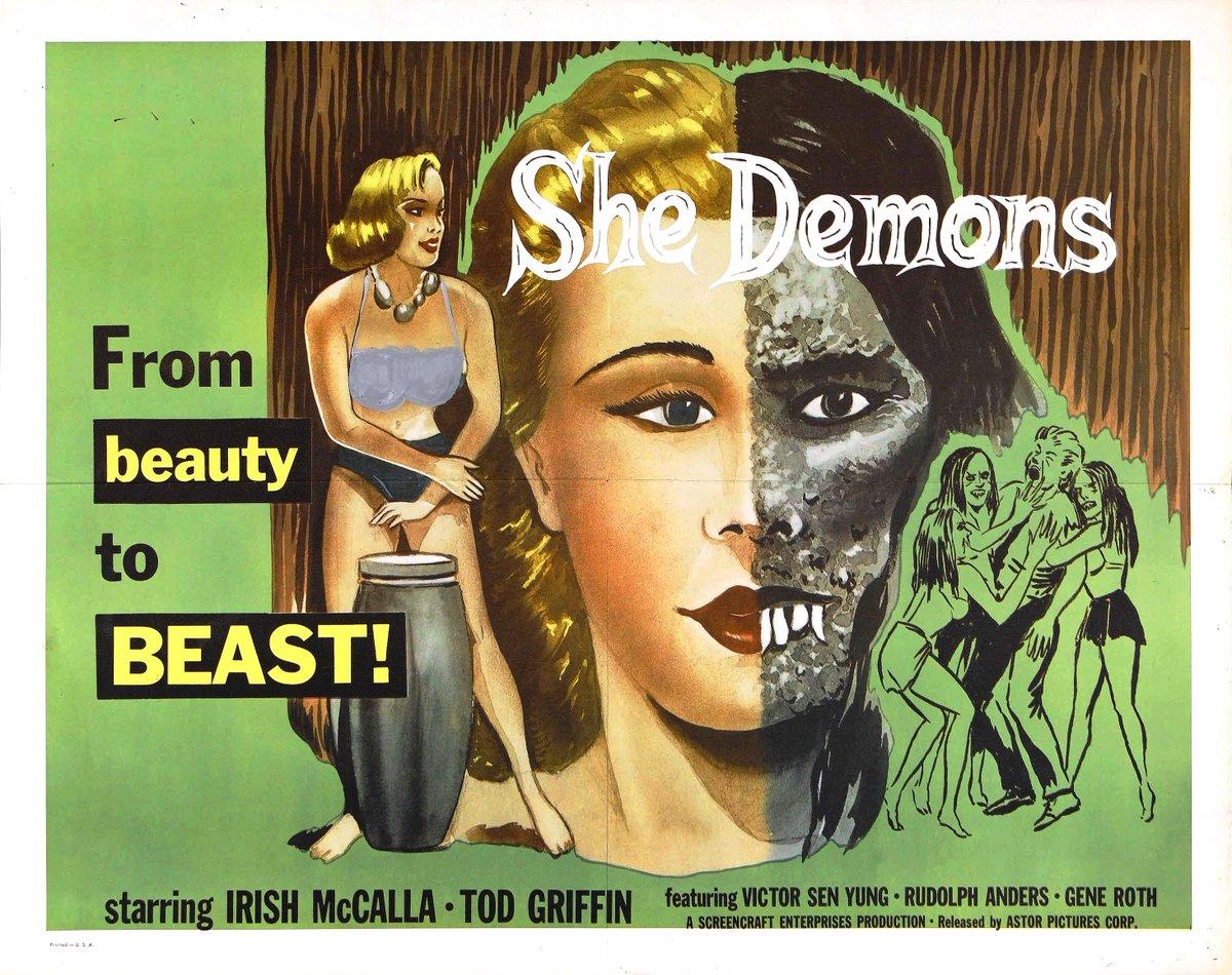 """from Beauty to Beast!"" … SHE DEMONS (1958) #horror #scifi #posterpic.twitter.com/k6LRUvw28R"