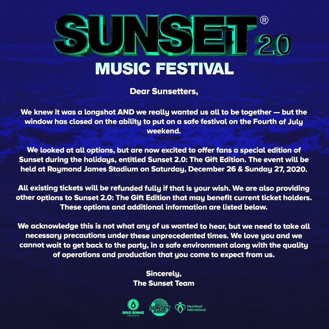 Sunset Music Festival 2020 dates