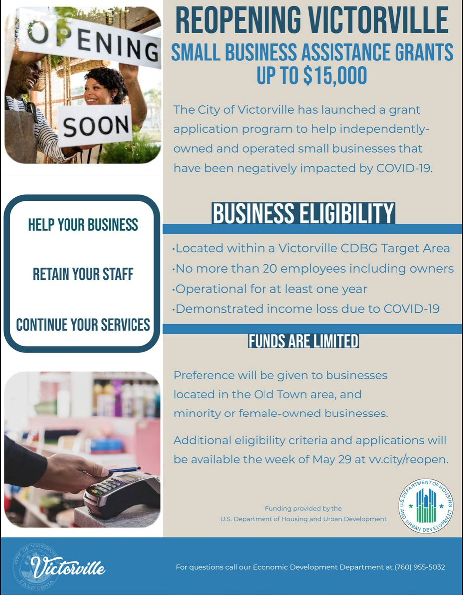 @cityofvv  is offering grants to #smallbusinesses. Reopening #Victorville Small Business Grant Program! Criteria and applications will be available the week of May 29 at http://ow.ly/qVk050zQ9rD . #KeepingItRegional #VictorValley #HighDesert #shoplocal #ilovethehdpic.twitter.com/JzcGyW71WZ
