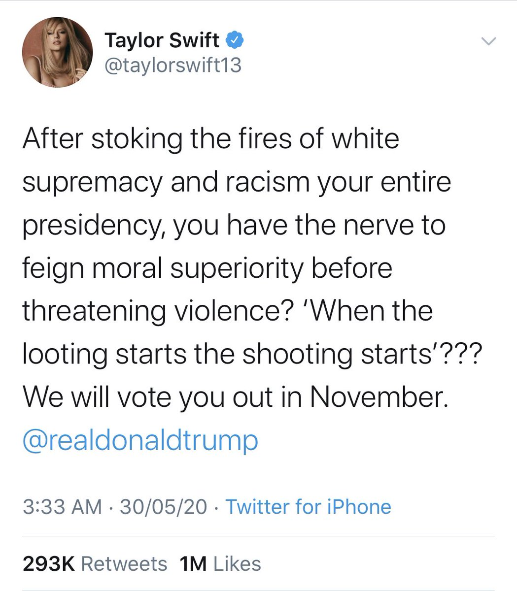 Taylor Swift News On Twitter Taylorswift13 S Tweet Against Donald Trump Has Now Surpassed 1 Million Likes On Twitter In Less Than 5 Hours It Has Become Her Most Liked Tweet