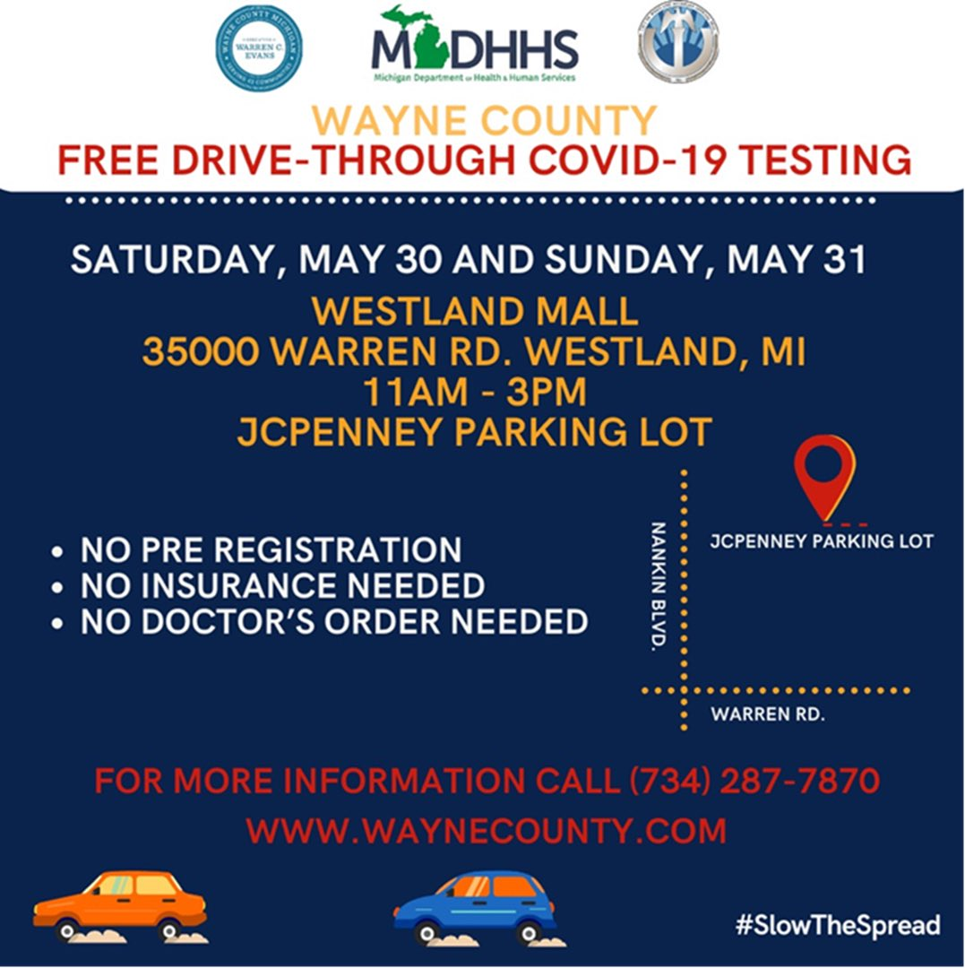 THIS WEEKEND: @MichiganHHS is offering *FREE* drive-through #COVID19 testing at the Westland Mall. Details below. #slowthespread https://t.co/cwdUua3wJ4