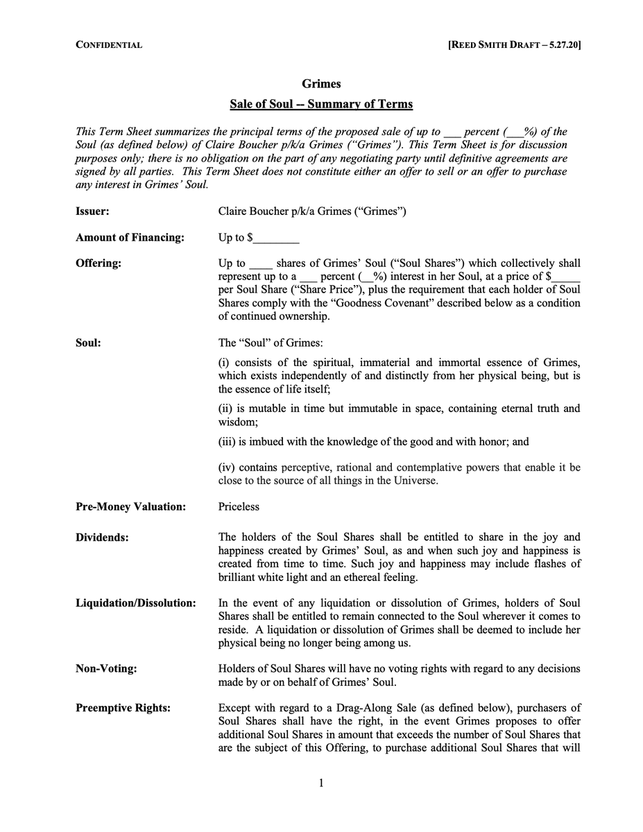 Документ о продаже части души Граймс