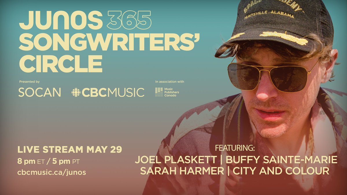 One hour until Episode 3 of #JUNOS 365 Songwriters' Circles presented by @CBCMusic, @SOCANMusic, in association with @canmuspub. Heres how to watch: 📺@CBC Gem gem.cbc.ca/live/174292025… 💻@CBCMusic Facebook, YouTube & cbcmusic.ca/junos