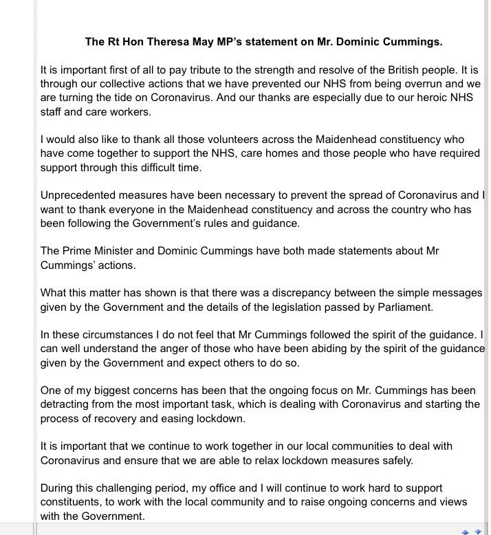 "This afternoon @theresa_may sent a letter to her constituents about the Dominic Cummings affair. The former Prime Minister said he ""didn't act within the spirit of the guidance"" and that she ""can well understand the anger"" of those who did. Letter in full below. https://t.co/L7anmwjfIM"