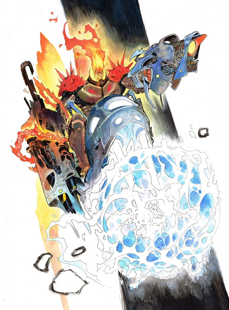 Cosmic Ghost Rider! #Commission #marvel #watercolors