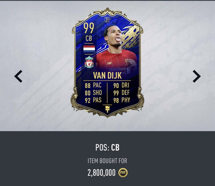 Giveaway #2:  TOTY VVD 🇳🇱 😍  To enter:   Retweet ✅   Follow @Piquelme20 ✅   Winner will be drawn June 2nd   *Will be listing for snipe* (Min 200k needed)  #FIFA20 https://t.co/ByN9RPPXNm