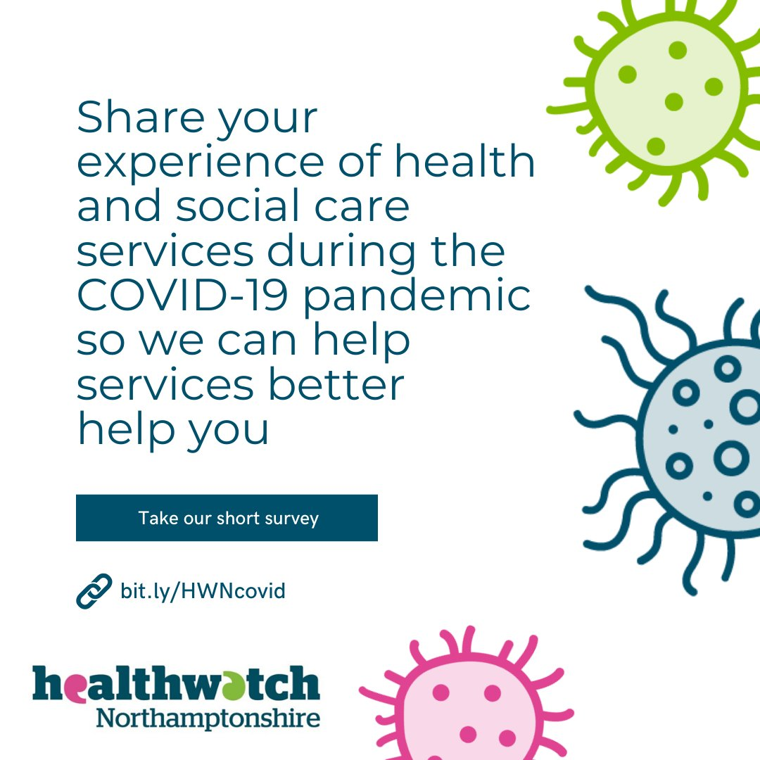 Healthwatch Northamptonshire would like you to share your experiences of health and social care during the COVID-19 pandemic so they can help services better help you. Find out more and take part in their survey at bit.ly/HWNcovid. #NorthantsTogether