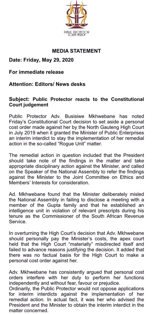 PP @AdvBMkhwebane reacts to today's Constitutional Court judgment