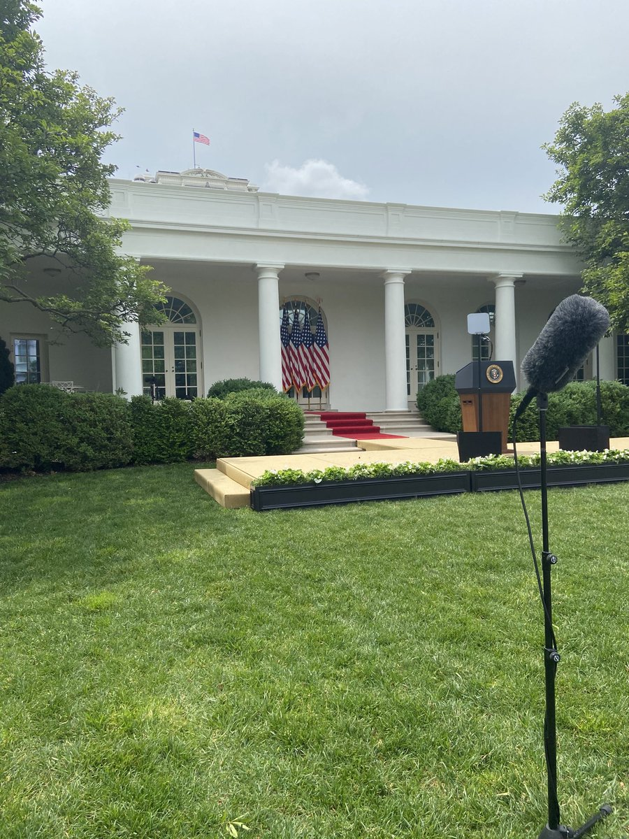 In the Rose Garden, awaiting President Trump, who is expected to announce measures regarding China's recent actions in Hong Kong https://t.co/UTdKD1bODd