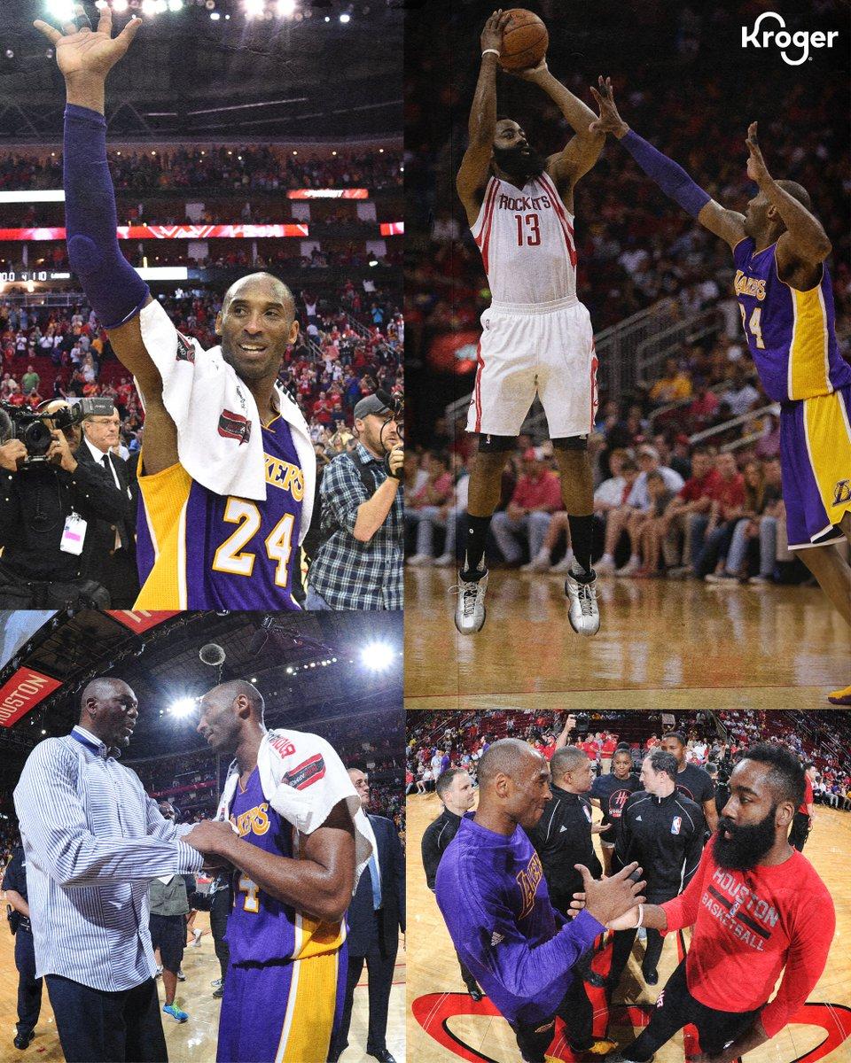 Kobes last game at @ToyotaCenter. 💜💛 #FlashbackFriday   @krogerco