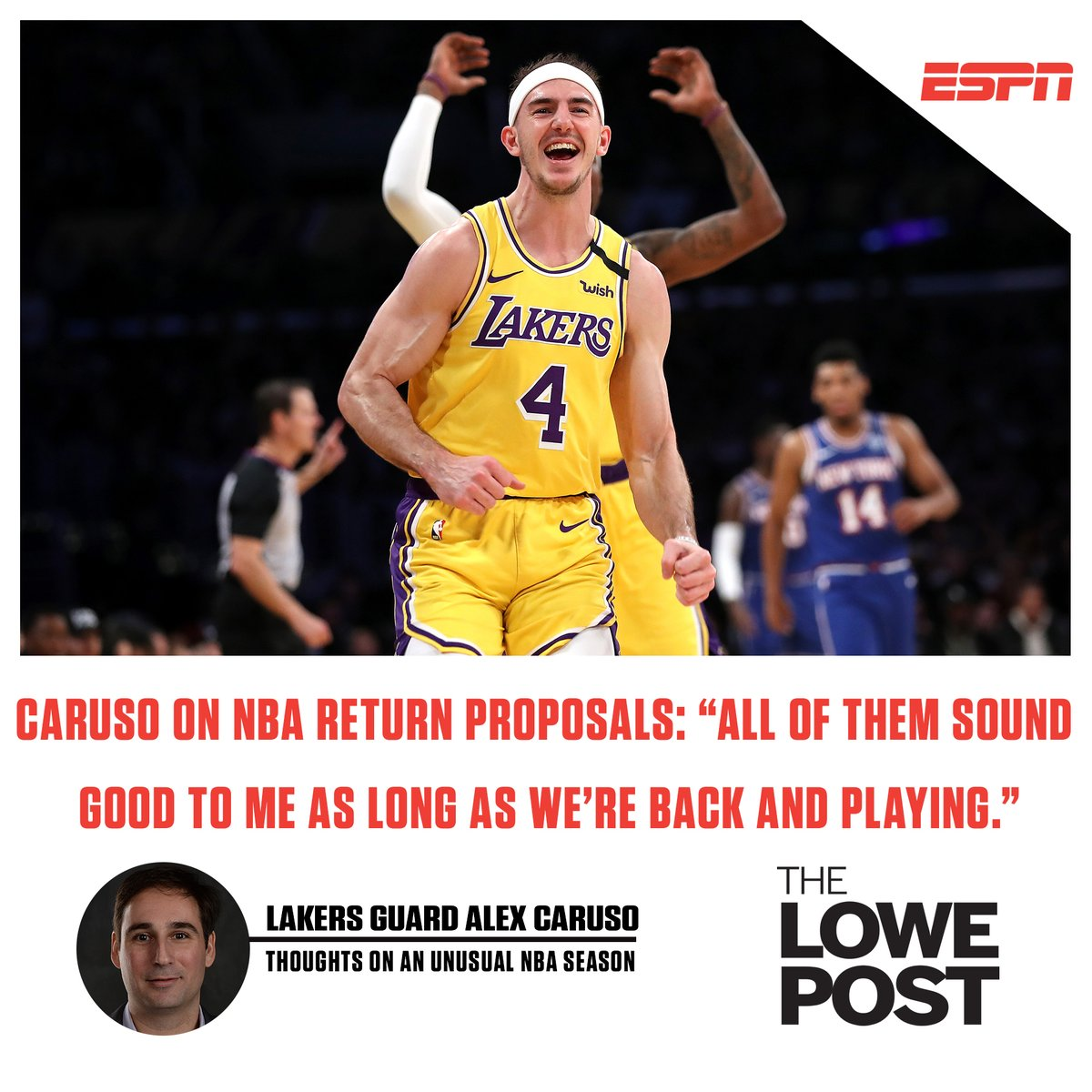 New #LowePost!  @ZachLowe_NBA talks to Lakers guard @ACFresh21 about his unique NBA journey, the NBA's potential return and more!  LISTEN: https://t.co/cSX2YSCYq4 https://t.co/364pHyKwoi