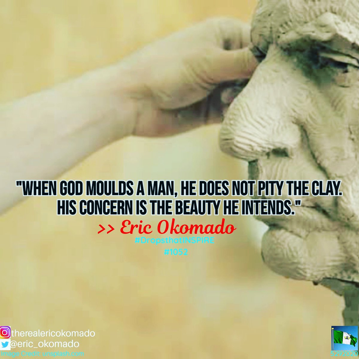 His Mighty Hands often press hard on the clay; But in the end, my friend, the glory far outweighs the temporary pain we suffer.  #DropsthatINSPIRE  #BeINSPIREDtoday  #sculpture #clay #mighty #pain #press #hardlife #BeOpened2020 #godsplan #follo4folloback #BlackLivesMatter #f4fpic.twitter.com/Z93SHMbF8q